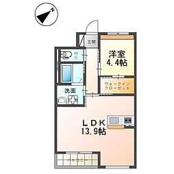 (仮)つくば市流星台新築マンション(ペット可) 2階1LDKの間取り