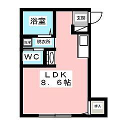 アドバンスK中山 2階ワンルームの間取り