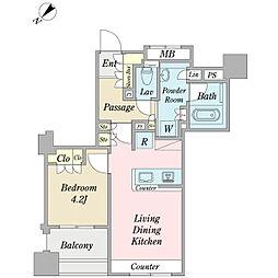 ウィルローズ築地 2階1LDKの間取り