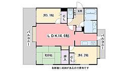 西新パークマンション[404号室]の間取り