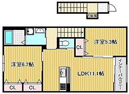 JR草津線 手原駅 徒歩8分の賃貸アパート 2階2LDKの間取り