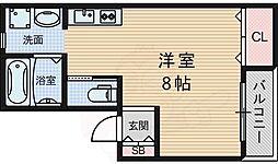 シャルム升美 2階ワンルームの間取り