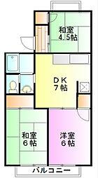 神奈川県小田原市蓮正寺の賃貸アパートの間取り