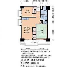 Osaka Metro南港ポートタウン線 ポートタウン東駅 徒歩4分の賃貸マンション 2階2LDKの間取り