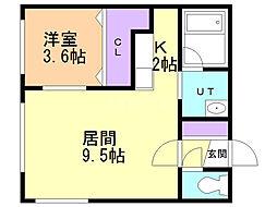 SAKURAコンフォートM 3階1LDKの間取り