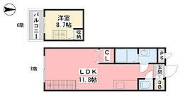 リューレント山越 7階1LDKの間取り