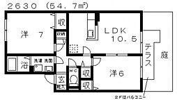 グリュックS[A101号室号室]の間取り
