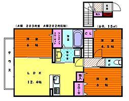 D-room香椎駅東 弐番館[2階]の間取り