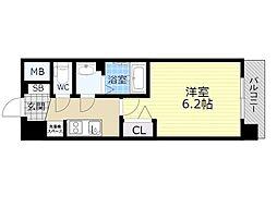プレサンスOSAKA三国ネオス 8階1Kの間取り
