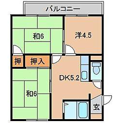 ハイツ柿の実I 2階3DKの間取り
