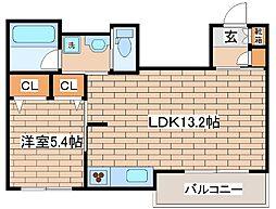 阪急神戸本線 六甲駅 徒歩3分の賃貸マンション 2階1LDKの間取り