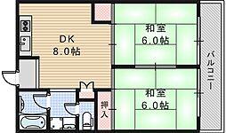 大阪府大阪市阿倍野区三明町1丁目の賃貸マンションの間取り