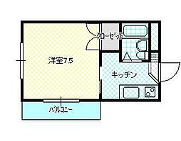JR山形新幹線 山形駅 バス18分 飯田アパート前下車 徒歩3分の賃貸アパート 3階1Kの間取り