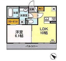 エイトヒルズII 2階1LDKの間取り