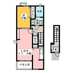 宮城県仙台市太白区中田7丁目の賃貸アパートの間取り