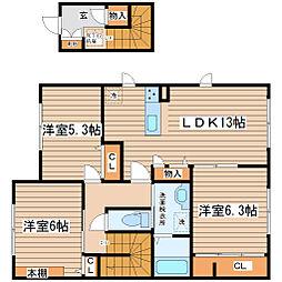 メゾンドナカムラ 2階3LDKの間取り