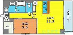 レユシール塚本[6階]の間取り