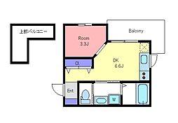京王線 調布駅 徒歩10分の賃貸アパート 1階1DKの間取り