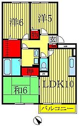 千葉県柏市富里2丁目の賃貸アパートの間取り