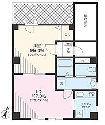 東京メトロ南北線 駒込駅 徒歩8分の賃貸マンション 5階1LDKの間取り