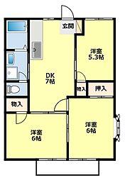 愛知県豊田市司町1丁目の賃貸アパートの間取り