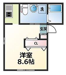 神奈川県厚木市田村町の賃貸アパートの間取り