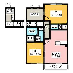 ハイツリリーベルII[2階]の間取り