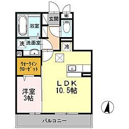 小田急小田原線 向ヶ丘遊園駅 徒歩14分の賃貸アパート 1階1LDKの間取り