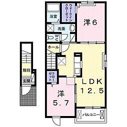 西鉄天神大牟田線 津福駅 徒歩12分の賃貸アパート 2階2LDKの間取り