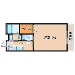 JR東海道本線 草薙駅 徒歩19分の賃貸アパート 1階1Kの間取り