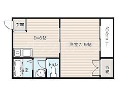 大阪府大阪市旭区中宮2丁目の賃貸マンションの間取り