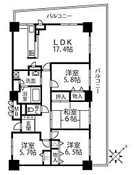 兵庫県神戸市長田区若松町4丁目の賃貸マンションの間取り