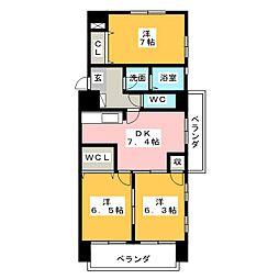 フェリーチェ勝川[2階]の間取り