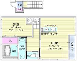 仙台市地下鉄東西線 八木山動物公園駅 徒歩27分の賃貸アパート 2階1LDKの間取り