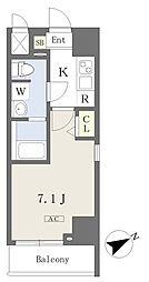 都営新宿線 本八幡駅 徒歩1分の賃貸マンション 6階1Kの間取り