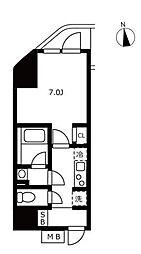 ハーモニーレジデンス浜松町 8階1Kの間取り