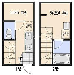 JR山陽本線 西広島駅 徒歩18分の賃貸アパート 1階1DKの間取り