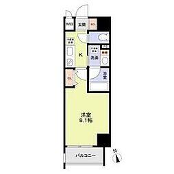 名古屋市営鶴舞線 丸の内駅 徒歩8分の賃貸マンション 3階1Kの間取り