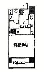 Axis Court松尾 7階1Kの間取り