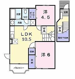 福岡県春日市上白水9丁目の賃貸アパートの間取り