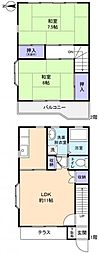 [テラスハウス] 千葉県八千代市下市場2丁目 の賃貸【/】の間取り