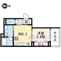 JR山陰本線 花園駅 徒歩11分の賃貸アパート 1階1DKの間取り