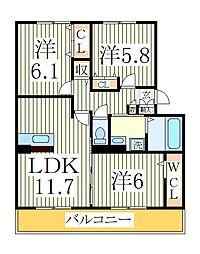ジン ハウスA[1階]の間取り