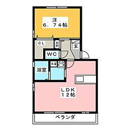 愛知県豊橋市東光町の賃貸アパートの間取り