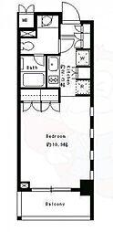 パークキューブ目黒タワー 3階ワンルームの間取り