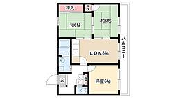 ヴィラ奥田第2ビル[3-C号室]の間取り