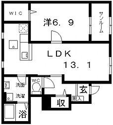 カーサ立部[105号室号室]の間取り