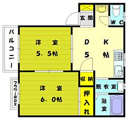 ブルーバレーヒルズ花見 II[1階]の間取り