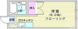 仙台市地下鉄東西線 八木山動物公園駅 徒歩5分の賃貸アパート 2階1Kの間取り