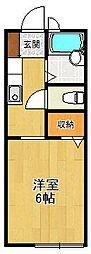 兵庫県西宮市名次町の賃貸アパートの間取り